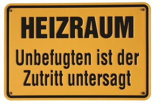 Hinweisschild Heizraum für Feuerstätten - Rauchen, Feuer und offenes Licht verboten